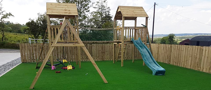 artificial grass and play area