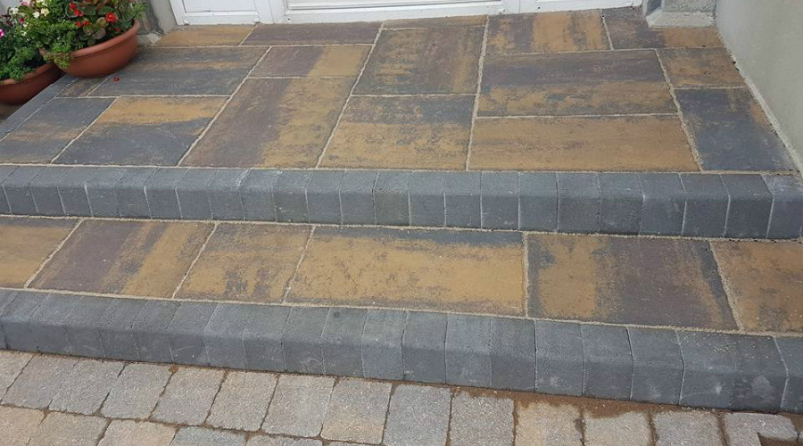 garden paving job on steps