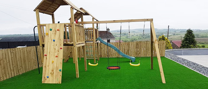 large play area with artificial grass