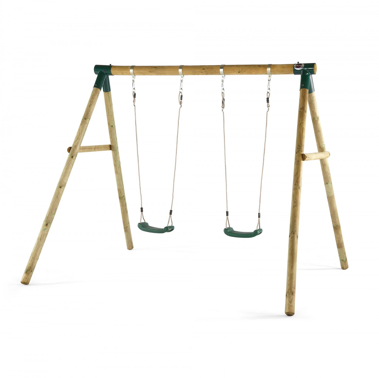 Marmoset wooden swing set beautifully natural round pole for Wooden swing set plans