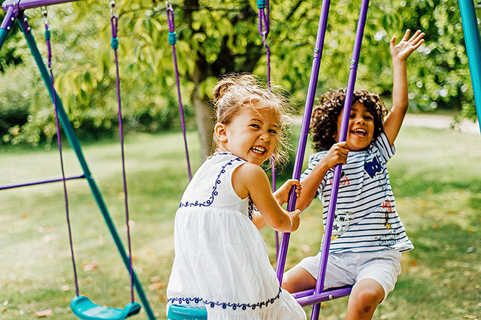 metal swing set for play areas